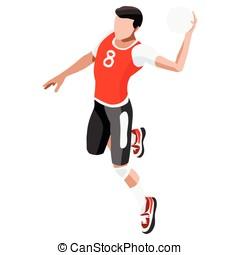 Handball 2016 Sports 3D Isometric Vector Illustration