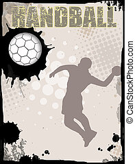 Action player on grunge background, vector illustration. Handball grunge poster