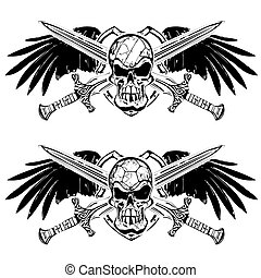 handball and volleyball skulls on shield with wings and swords