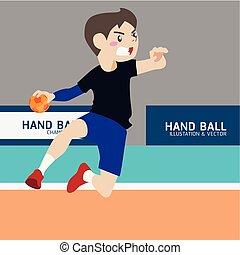 Handball athletic sport vector cartoon illustration set