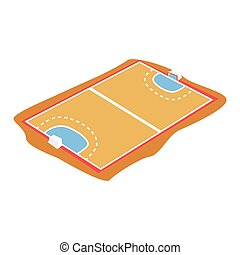 Handball court, playground cartoon vector Illustration