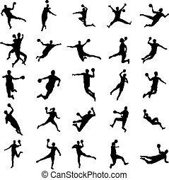 handball, ensemble, silhouette