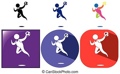 Handball icon in different design