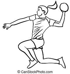 handball, joueur, attaque