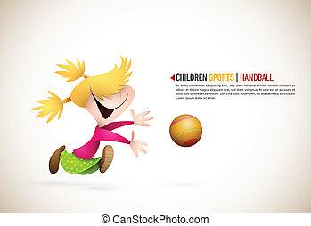handball, menininha, tocando
