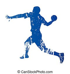 Handball player, abstract grungy vector silhouette