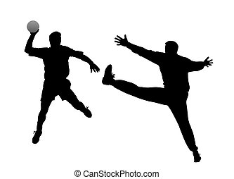 Silhouette of a handball player and goalkeeper. Isolated white background. EPS file available.