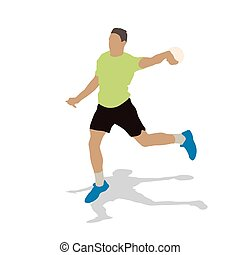 Handball player in green jersey throwing ball. Abstract vector illustration. Shadow silhouette