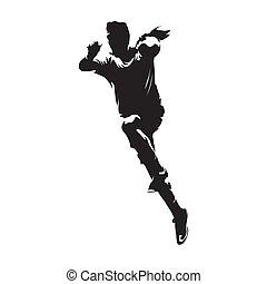 Handball player shooting ball, vector silhouette
