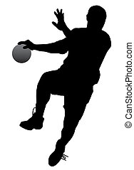 Silhouette of a handball player isolated on white background. EPS file available.