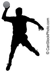 Silhouette of a handball player on isolated white background. EPS file available.