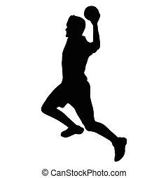 Handball player vector silhouette, side view