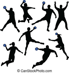 Handball players silhouettes- vector