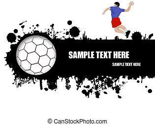 grunge handball poster with player and ball on black and white, vector illustration