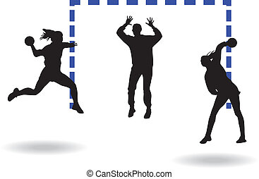 Handball players and goalkeeper silhouette vector