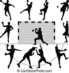 set of eleven handball players silhouette vector