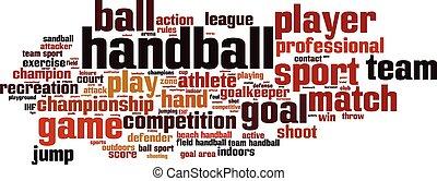handball, wort, wolke