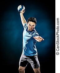 handballspieler, freigestellt, mann