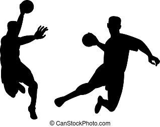 handballspieler, springende , retro