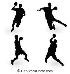 handballspieler, vektor, schwarz