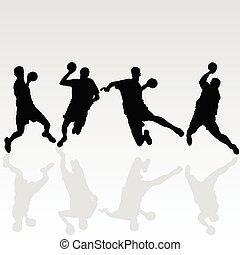 handballspieler, weißes, schwarz, abbildung