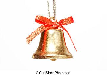 handbell with red ribbon