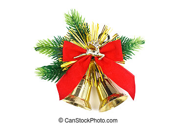 Handbells - Two handbells, red tape, branches of a fur-tree ...