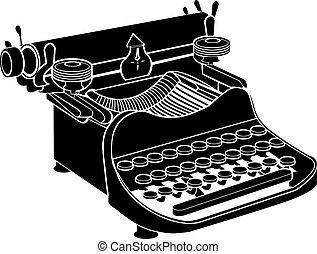 handbok, vektor, skrivmaskin