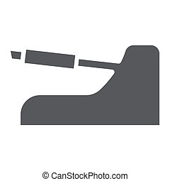 Handbrake glyph icon, auto and part, car brake sign, vector graphics, a solid pattern on a white background.
