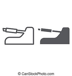 Handbrake line and glyph icon, auto and part, car brake sign, vector graphics, a linear pattern on a white background.