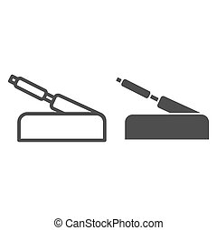 Handbrake line and glyph icon. Car brake handle vector illustration isolated on white. Automobile stop outline style design, designed for web and app. Eps 10.