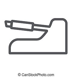 Handbrake line icon, auto and part, car brake sign, vector graphics, a linear pattern on a white background.