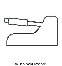 Handbrake thin line icon, auto and part, car brake sign, vector graphics, a linear pattern on a white background.