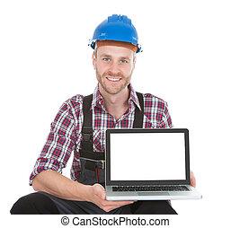 handbuch, laptop, arbeiter, zeigen