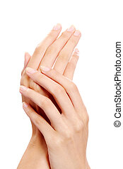 Handcare - Image of female manicured hands on white...