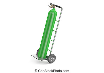 handcart with green gas cylinder