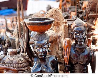 handcraft, ciemny, drewno, figury, pokrajany, afrykanin