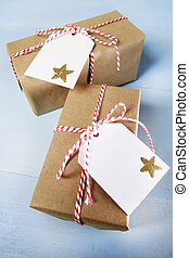 Handcraft giftboxes with ribbons and tags - Present boxes...