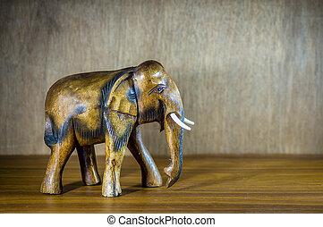 Handcraft wood elephant sculpture.