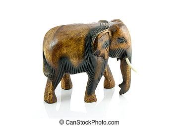 Handcraft wood elephant sculpture