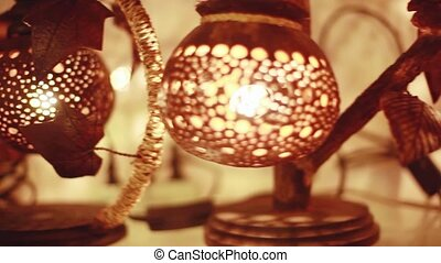 Handcrafted coconut lanterns in street market. 1920x1080 -...