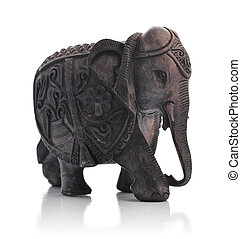 Handcrafted indian elephant isolated on a white background