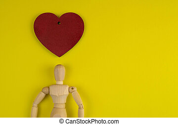 Handcrafted wooden man figure mannequin model dummy doll with with red heart