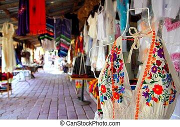 Handcrafts market in Mexico Puerto Morelos village