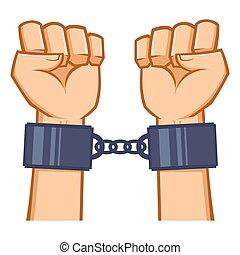 handcuf, manos, capturado, encadenado