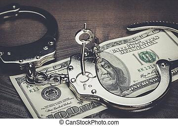 handcuff, en, een honderd dollar, op, een, tafel