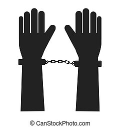 handcuff hand fingers vector graphic icon - hand handcuff...