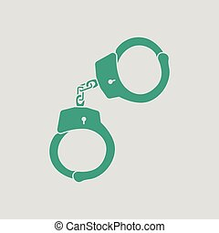 Handcuff icon. Gray background with green. Vector...