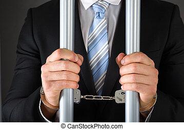 handcuffed, affärsman, holdingen, bommar för