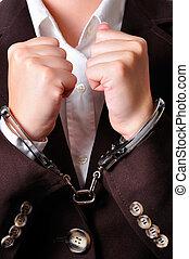 Handcuffed - Closeup of an handcuffed businessperson in a...